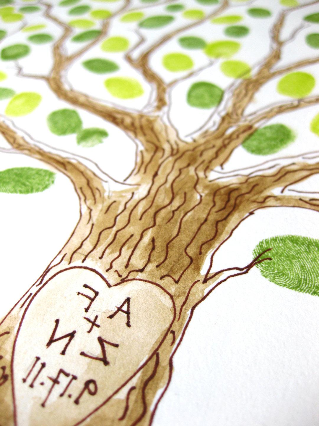 Wedding Tree Guest Book Family Tree 20 x 16 Customizable Original Watercolor