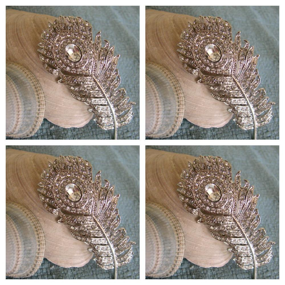 4 Peacock Hair Brooches Bridal
