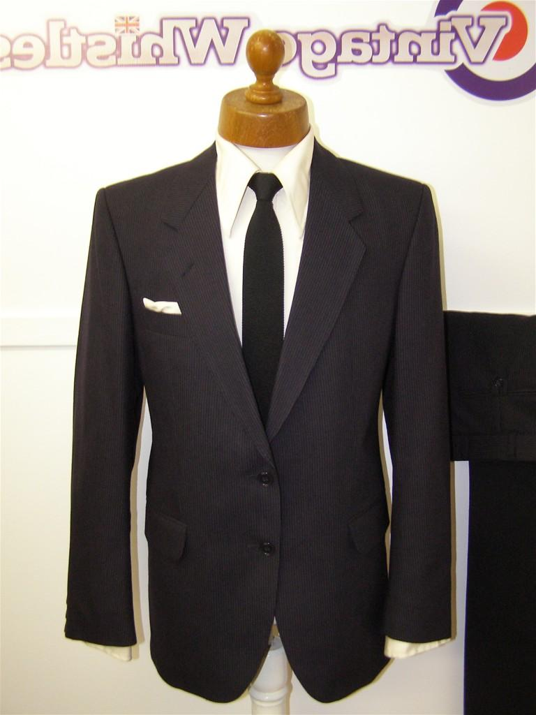 Mens vintage 80s suit navy