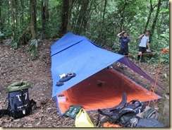 flysheet and groundsheet camp