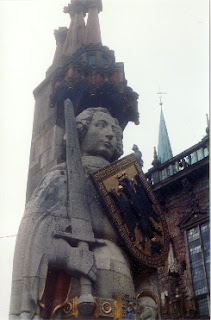 Statue of Roland, the traditional guardian of Bremen.  Downtown Bremen, Germany.
