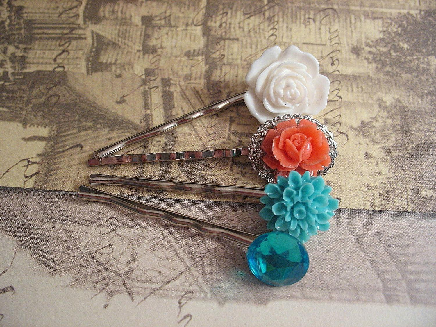 Tropical Paradise - coral, rose, turquoise, white, floral, bobby pins,