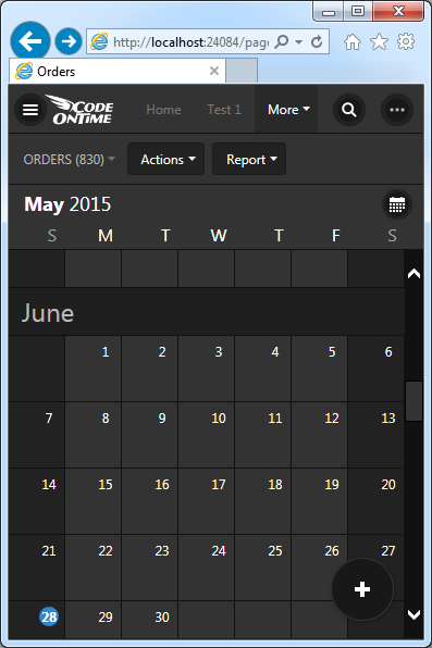 Month mode of Calendar view style in Touch UI on a small screen