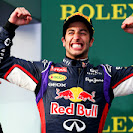 Daniel Ricciardo smiles his face off after finishing 2nd for Red Bull