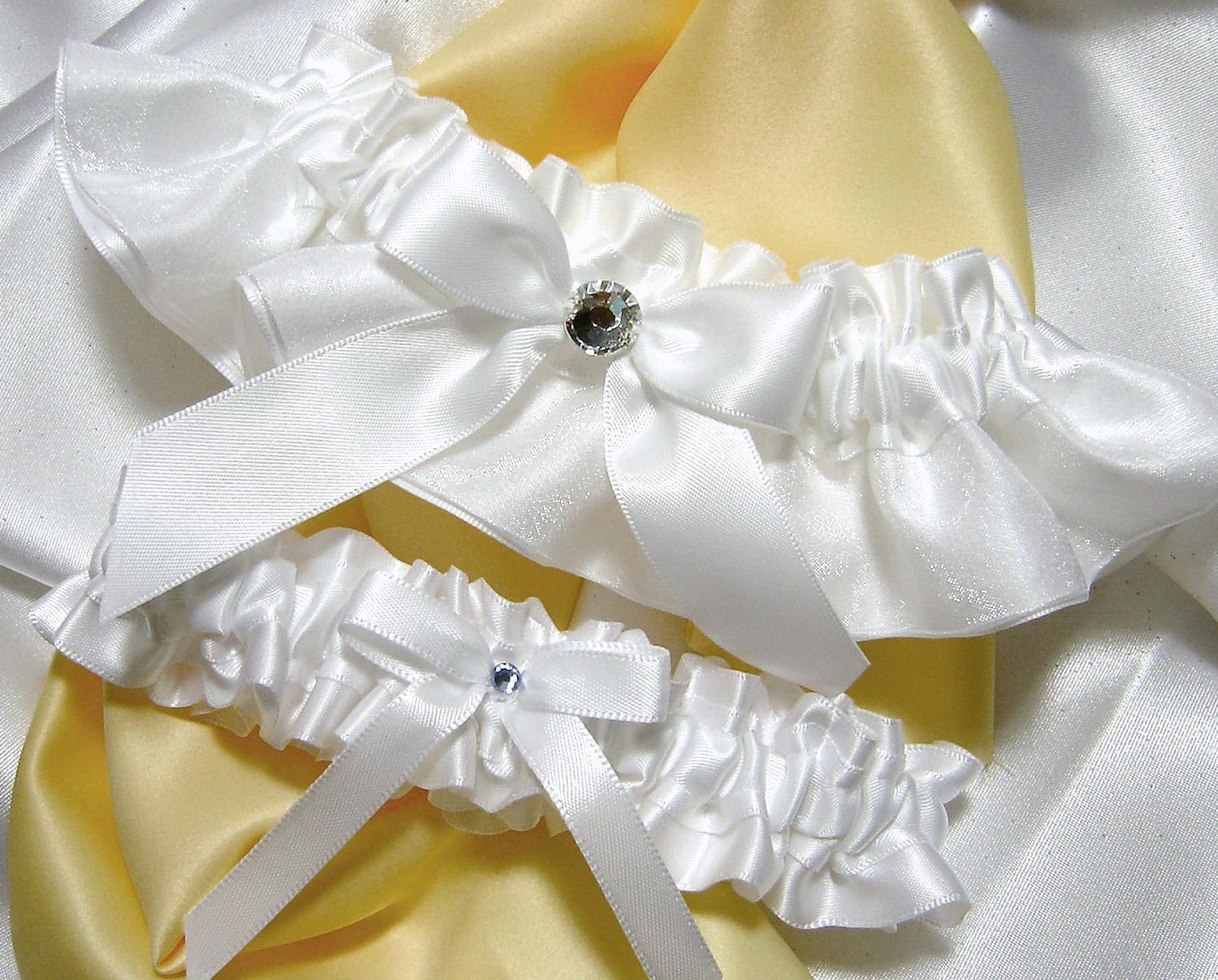 White Satin Bridal Garter Set w  Real Swarovski Crystal Embellishment -Toss