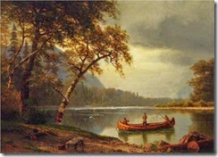 1e Albert Bierstadt (German-born American artist, 1830-1902)  Salmon Fishing on the Cascapediac River