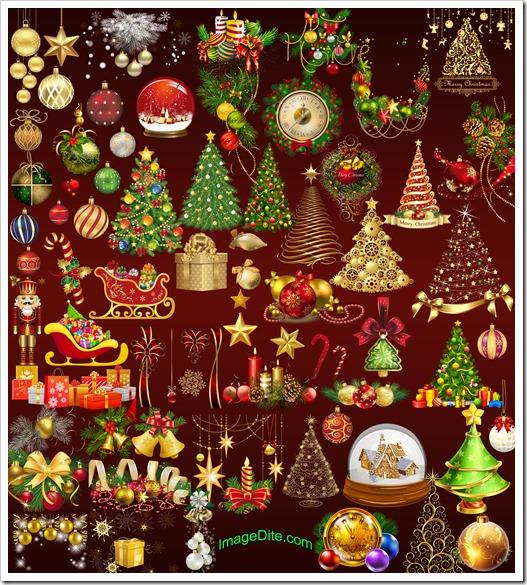 Christmas elements golden clipart