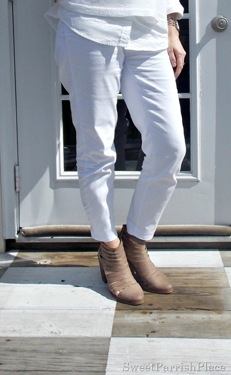 All white outfit, tan booties3