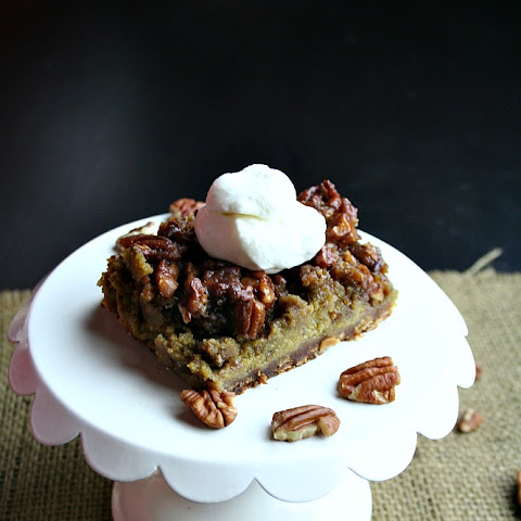 Pumpkin Pecan Pie Bars with Vanilla Bourbon Whipped Cream