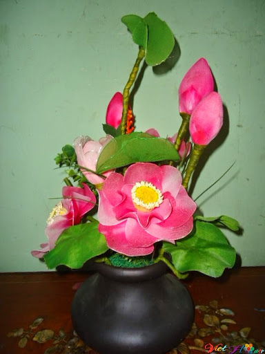 mẫu hoa sen bằng vải voan 2