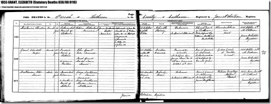 Elizabeth Grant 1855 Death