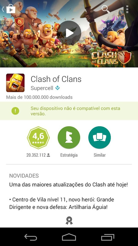 clash of clans erro playstore