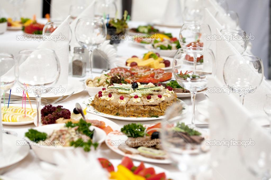 Food at banquet table