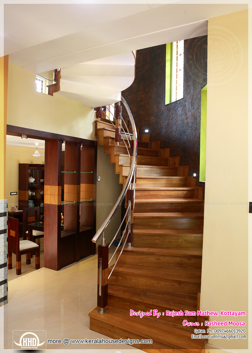 Wooden staircase for Bathroom interior design kerala