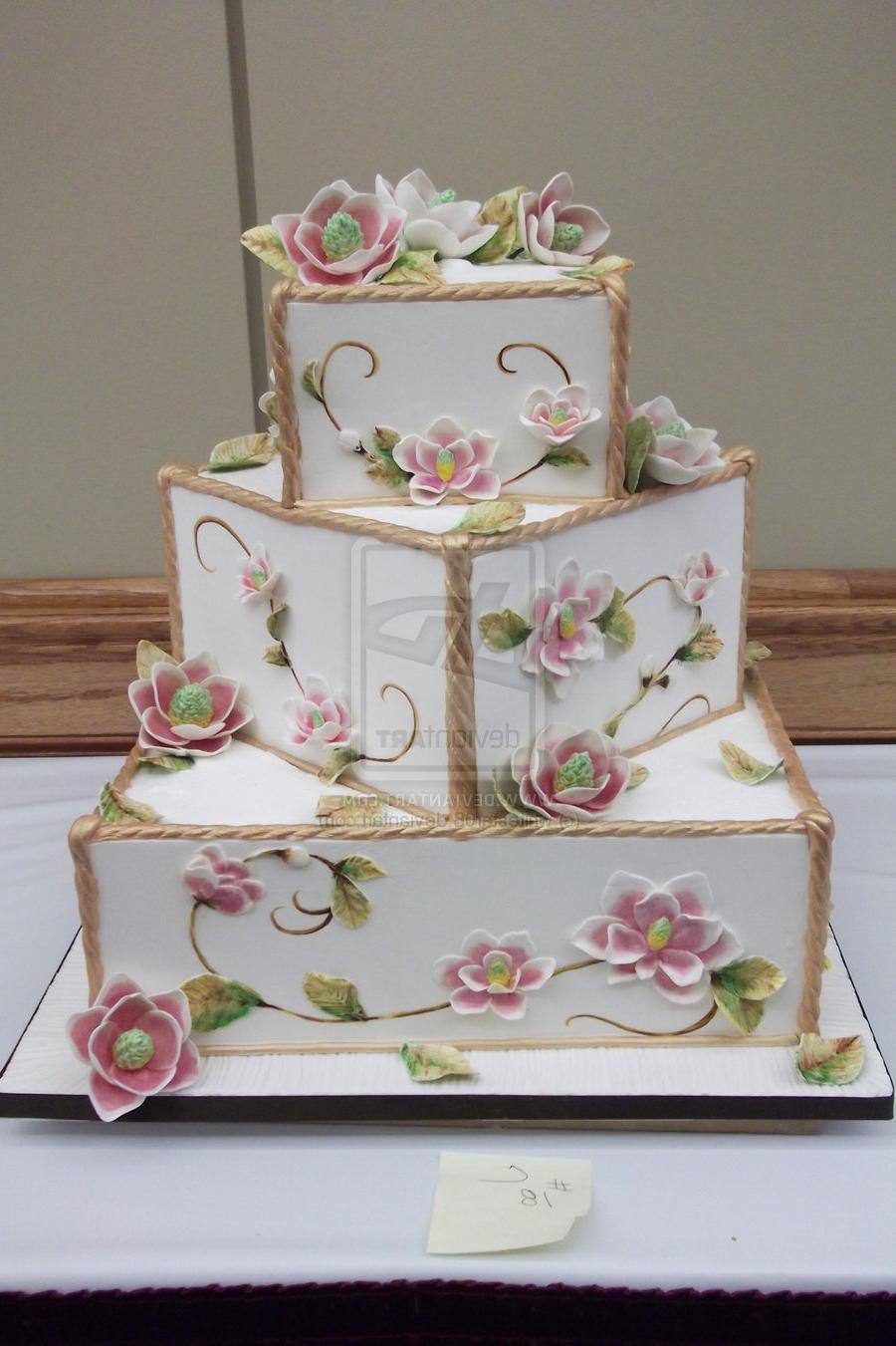 magnolia wedding cake by