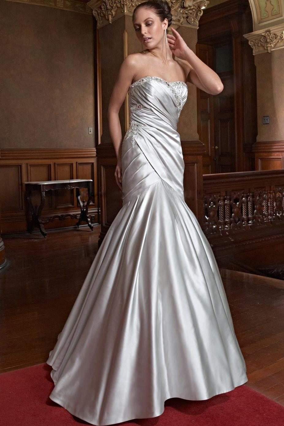 Mermaid Sweetheart Chapel Satin Wedding Gown  18CA0090
