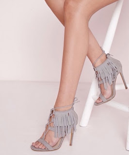 Schutz Grey Suede Fringe Lace Up Sandals Heels