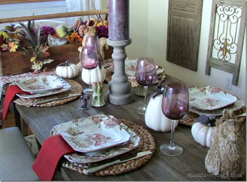 Fall Tablescape Idea using seasonal colors and beautiful rustic and antique touches.