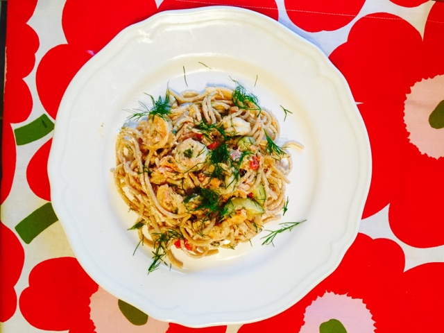 Lemony prawn and smoked salmon wholewheat pasta
