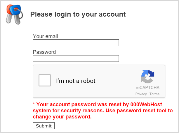 Login showing passwords have been reset