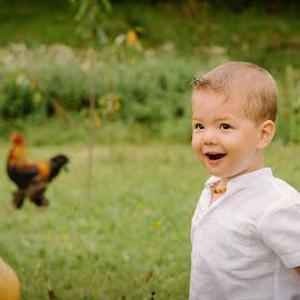In the yard by Klaudia Klu - Babies & Children Child Portraits