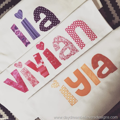 www.daydreambelieversdesigns.com Personalized Pillowcases. Slumber party favor.