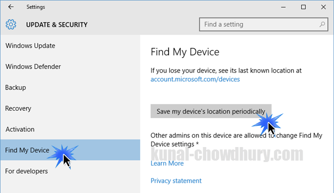Windows 10 - Settings - Update and Security (www.kunal-chowdhury.com)