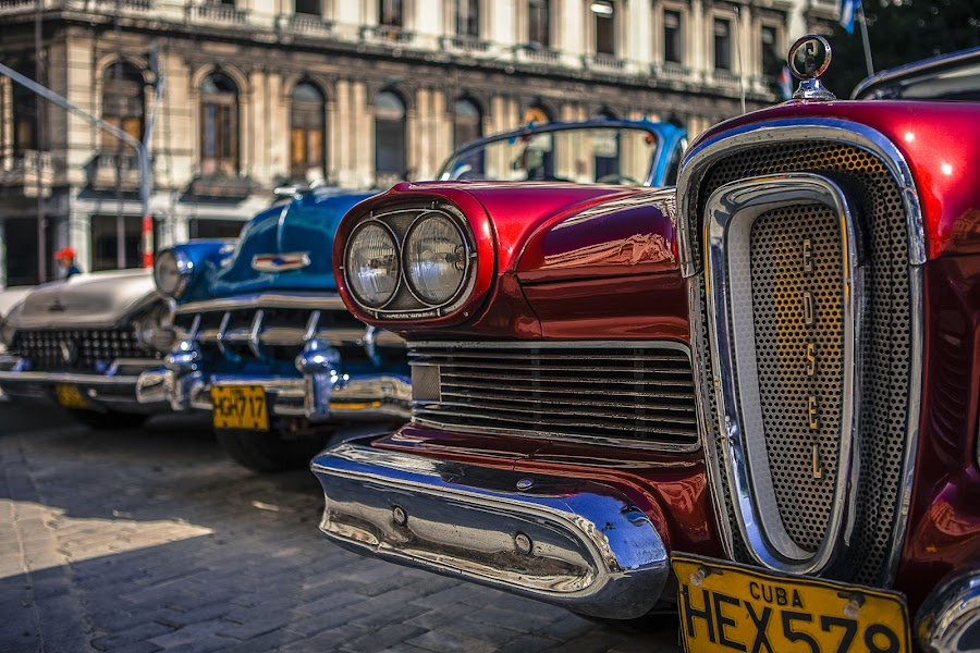 Mint Classics by Justin Welch - Transportation Automobiles ( car, red, blue, popular, fine art, artistic, favourite, classic, cuba )