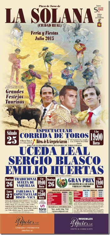 Cartel Taurino de La Feria de La Solana C.R (1)