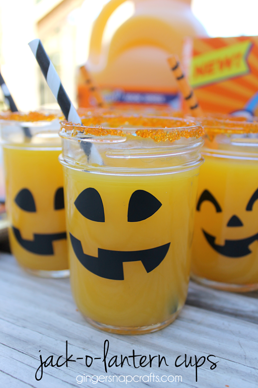 Jack-O-Lantern Cups at GingerSnapCrafts.com