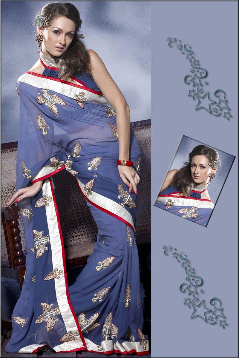 Deep Royal Blue Faux Georgette Wedding and Festival Embroidered Saree