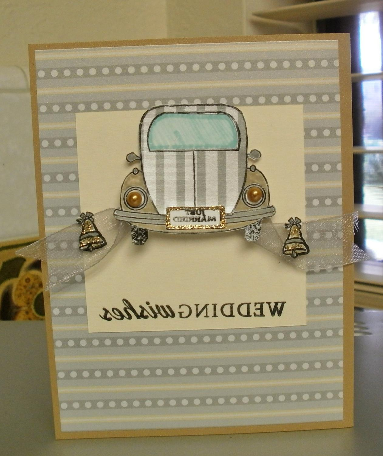 Volkswagon Bug Wedding Wishes Greeting Card    zoom. This card is 4 1 4 x 5