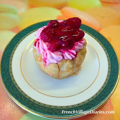 French Village Diaries patisserie challenge charlotte aux framboises boulangerie