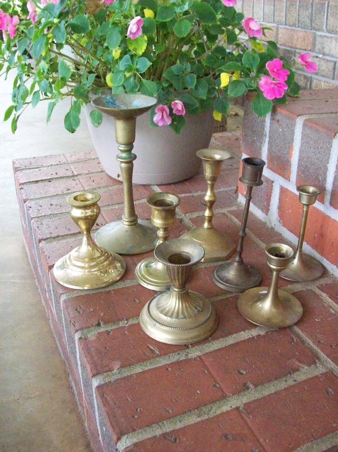 Vintage Brass Candleholders Rustic Wedding Decor 8 Candlesticks Shabby Chic