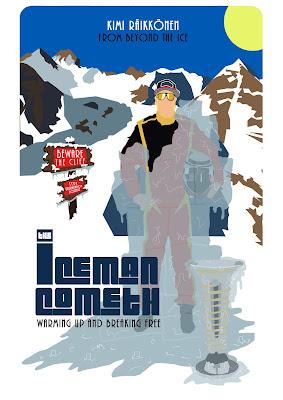 Кими Райкконен The Iceman Cometh постер от Russell Ford