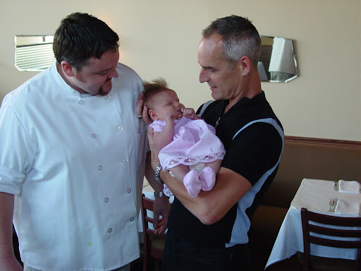 Charlie Durham, baby Sophia, Jef Fike at Cassis 2002, courtesy Laura Lee MacMahonCQ