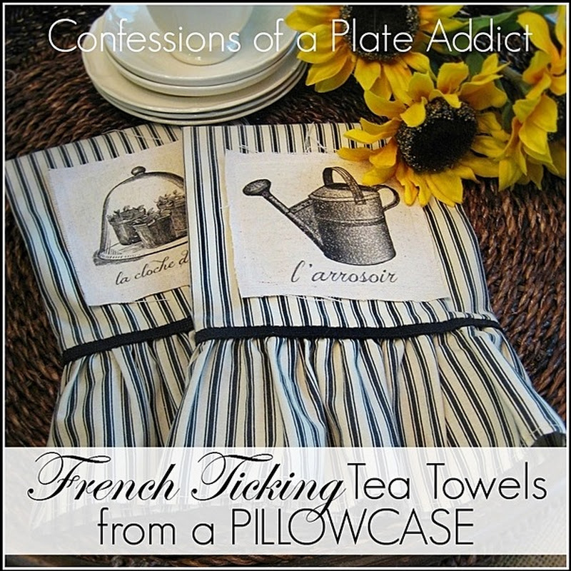 French Ticking Tea Towels...from a Pillowcase