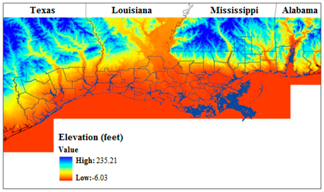 Relative elevation of Gulf Coast counties. Areas below 30 m elevation displayed in orange. Graphic: Potter, et al., 2008