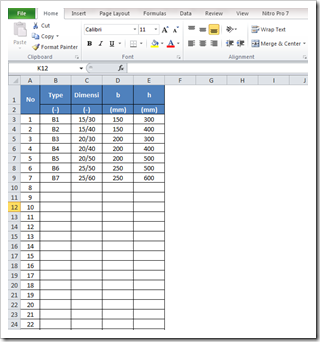 Input Dimensi Balok-Sheet