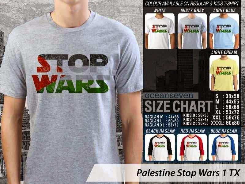 Kaos Muslim Islam Palestine Stop Wars 1 distro ocean seven