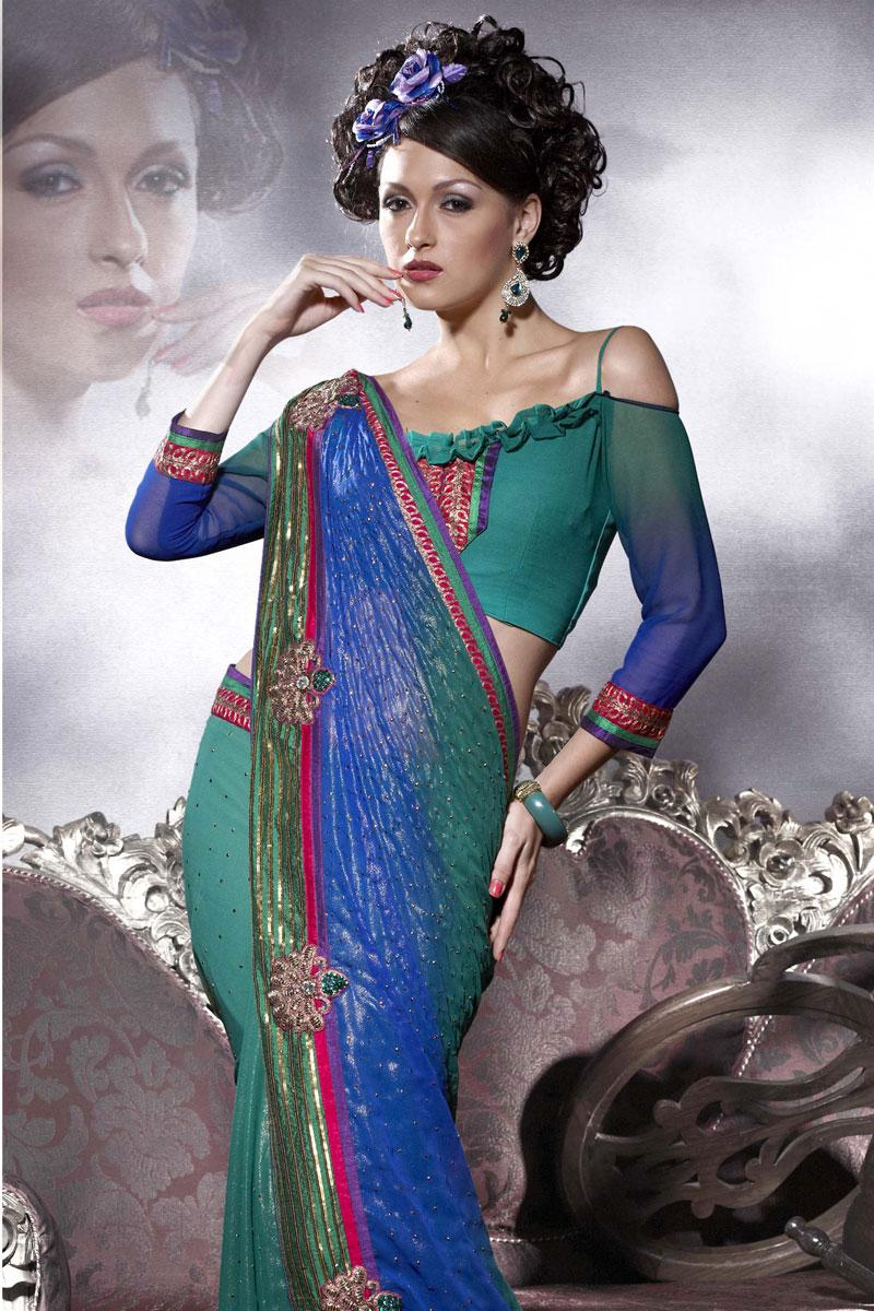 Royal Blue and Viridian Green Shimmer Georgette Saree   141.00