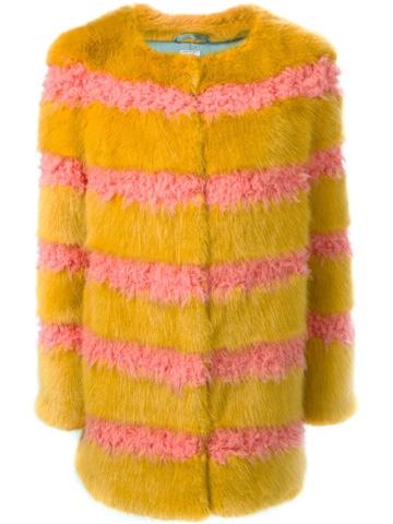 Shrimps Faux Fur Pink & Yellow Bobbin Coat, Farfetch.com