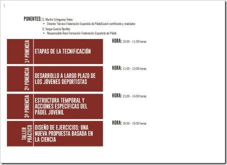 PROGRAMA Jornada de Formación y Actualización Deportiva en Pádel promovida por la Junta de Castilla y León y la FEP / 31 Octubre 2015.