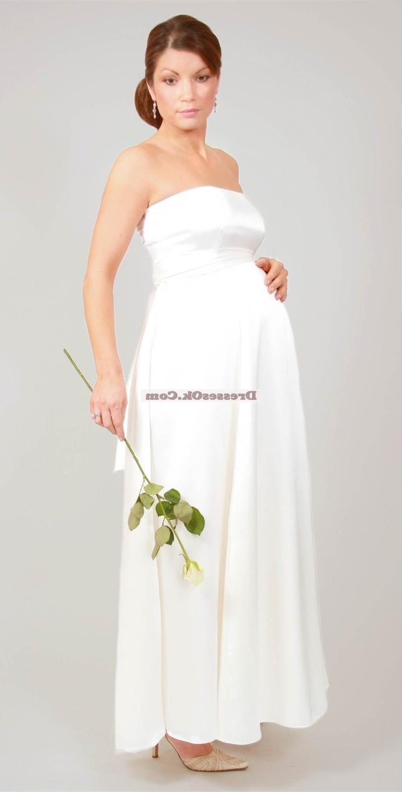Pretty empire strapless kjacket long sleeves floor-length maternity wedding