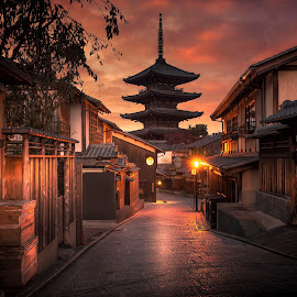 Kyoto by Nick Moulds - City,  Street & Park  Historic Districts ( japan, pagada, kyoto, street, night )