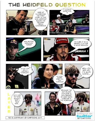 Комикс от F1cartoonz. Ник Хайдфельд, Камуи Кобаяши, Хайме Альгерсуари и Фернандо Алонсо на пресс-конференции перед Гран-при Великобритании 2011