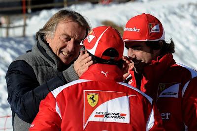 Лука ди Монтедземоло обнимает за щеки Фелипе Массу, Фернандо Алонсо улыбается на Wrooom 2012