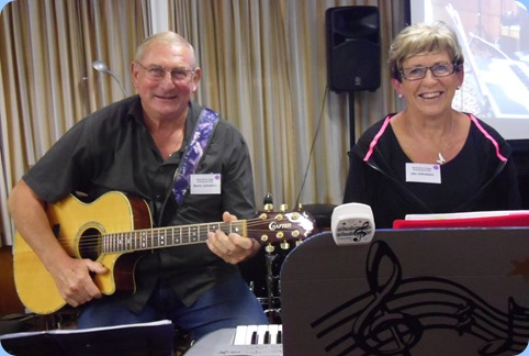 Kevin and Jan Johnston came down from Algies Bay to give us a mini-concert - Kevin with his Crafter acoustic guitar and Jan using her Korg Pa1X. Photo courtesy of Laurie Conder.