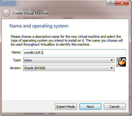 Create VM Machine New nome