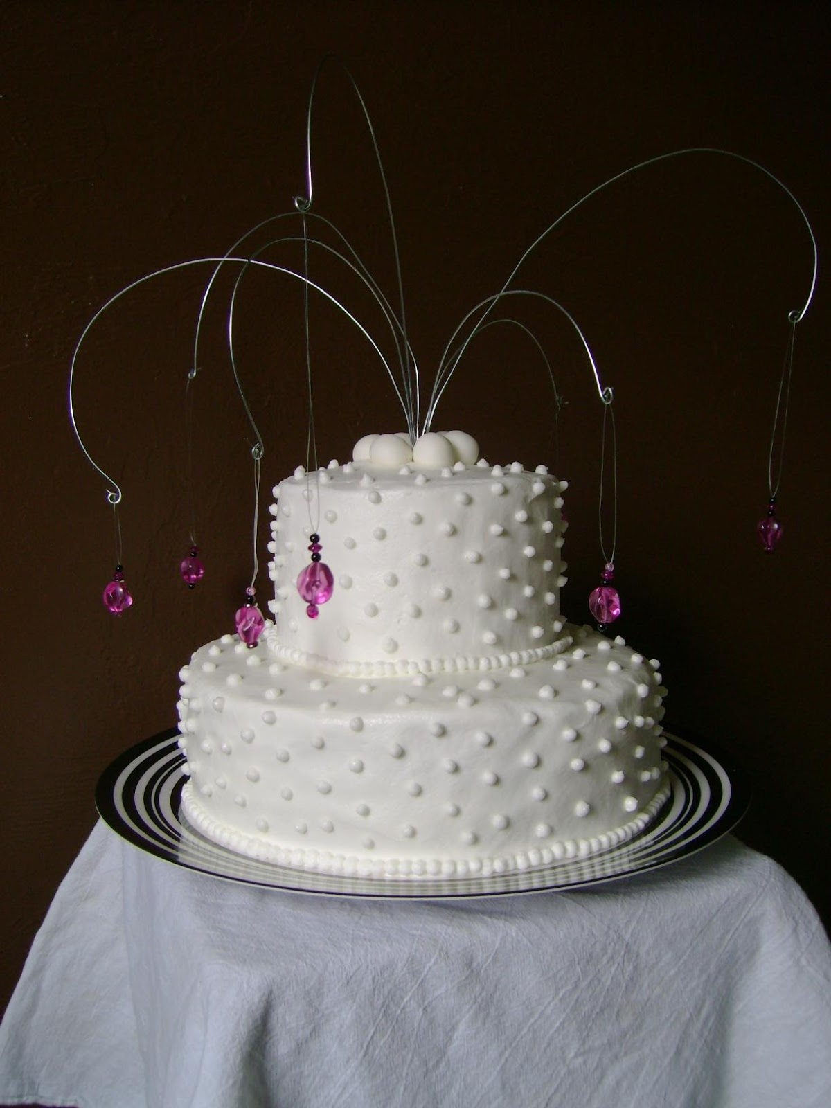 The two-tier cake was a
